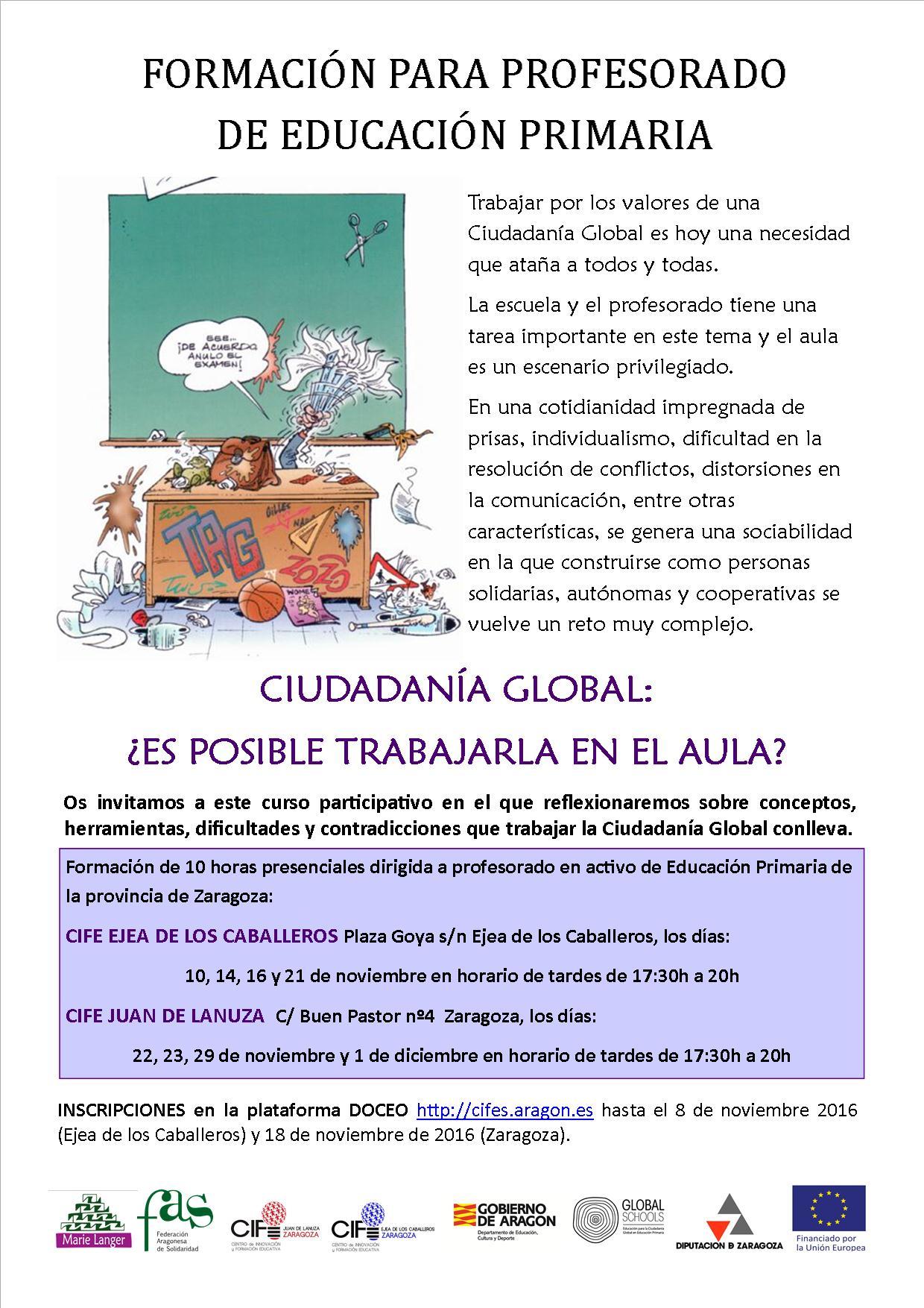 Curso formación sobre Educación para la Ciudadanía Global para profesorado de primaria